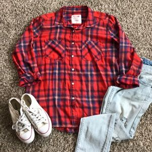 Mossimo Flannel Plaid Button Down Top